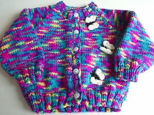"""New Hand Knitted Butterfly Cardigan 20/22"""" chest (aprox 12/18 months)"""