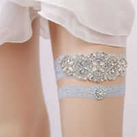 2Pcs Handmade Lace Wedding Garters Set Rhinestone Beaded Bridal Ribbon Accessory