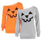 Halloween Pumpkin Women Long Sleeve T-shirt Pullover One Shoulder Tops Blouse