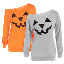 Halloween Women One Shoulder Long Sleeve T-Shirts Autumn Loose Tee Pullover Tops