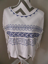 Forever 21 White Blue Aztec Print Fringe Top NWT LARGE