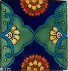 "C324 - Mexican Handmade Talavera Clay Tile Folk Art 4x4""  Handpainted"