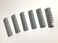 6x LEGO Light BLUISH GREY Slope 2 x 8 (45°) (4445) Roof Tile House Modular MOC
