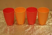 New Set of 4 Tupperware Open House Tumblers in Orange and Tangerine Colors 18oz