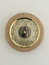 Barometer Weather Instrument Round Solid Oak Mount Ideal Gift New