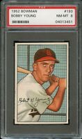 1952 Bowman BB Card #193 Bobby Young St. Louis Browns ROOKIE CARD PSA NM-MT 8 !!