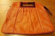 Vintage, Orange, Leather, Clutch Handbag with Brown Resin Trim (1970s)