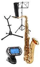 Tenor Saxophone Brass Sax Wind Instrument Set Metronome Support Stand Bag Tuner
