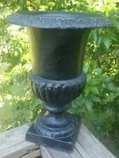 """Antique Cast Iron Garden Urn Planter French Neoclassical 12.5"""""""