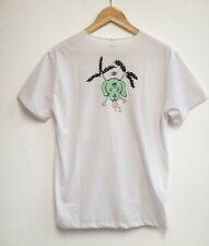 WECare white cotton t-shirt skull & crossbones cartoon dog unisex men's women's