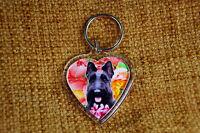 Scottie Dog Gift Keyring Dog Key Ring heart Birthday Gift Xmas Mothers Day Gift