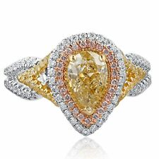 GIA Certified 1.95 Carat IF Clarity Pear Yellow Diamond Engagement Ring 18k Gold