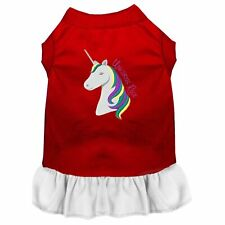 Unicorns Rock Embroidered Dog Dress Red with White
