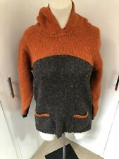 Rathlin Of Donegal Pure New Wool Hooded Jumper Size Large