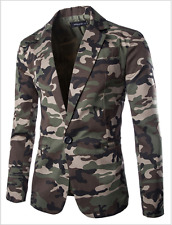Mens Camouflage Lapel Collar Blazer Two Button Slim Casual f Coats Jacket Suit