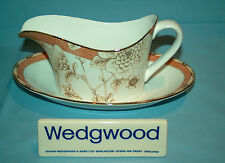 Wedgwood Frances Peach Gravy Boat & Stand - 1stQ - VGC - Free UK Post