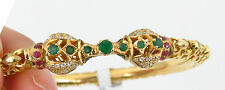 NYJEWEL New 22k Solid Gold India Style Green Red Topaz Bangle Bracelet