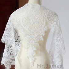 1Yard Eyelash Sequins Lace Trim Wedding Dress Brial DIY Lace Applique Pure White
