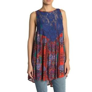 Free People Count Me In Trapeze Swing Tank Top Lace Tunic Hot Red Combo Size XS