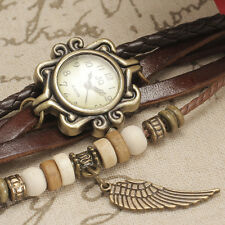 Vintage Leather Bracelet Uhr Cute Women Girl Quartz Wrist Watch Relogios Reloj