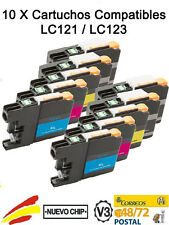 10 TINTAS NON OEM PARA BROTHER LC 121 LC 123 COMPATIBLES XL VERSION V3