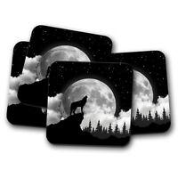 4 Set - Full Moon Wolf Coaster - Mysterious Silhouette Howling Husky Gift #15358
