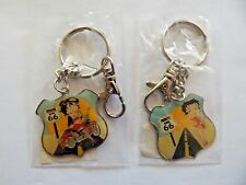 NIP Lot 2 Different BETTY BOOP Biker Hitch hiker on Route 66 keychain key chain