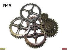steampunk brooch badge pin silver bronze copper gearwheels cogs mechanical #PM9