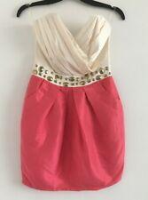 LIPSY LONDON Strapless Dress Size 8  Cream & PINK BONED BODICE PARTY CLUB CUTE