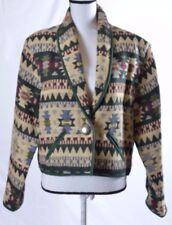 Fiorlini International Tribal Aztec  Jacket Thick Cotton Tan Brown Green XL (L)