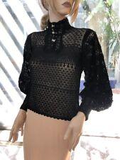 Lim'S Vintage All Hand Crochet Mandarin Collar Puff sleeve Top Color Black, M