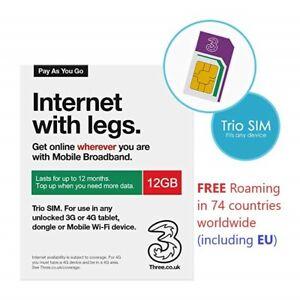 Three PAYG Mobile broadband preloaded 12GB data 3/4G SIM lasts 12 months