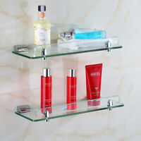 Bathroom Glass Shower Shelf Storage Rack Soap Dish Simple Wall mount New 40-60cm