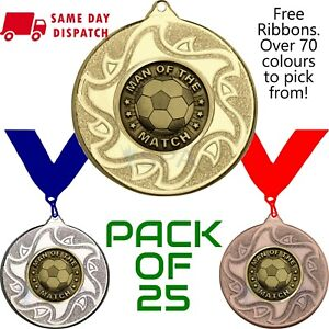 Pack of 25 x Man of the Match Medals & Any Colour Ribbons Gold Football 50mm