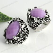 Vintage Retro Oval Purple Acrylic Bead Flower Wrap Cocktail Ring US6 Gift Lady
