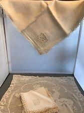 Vintage Ecru Lace Crochet Linen 34 Sq Table Cloth & Napkins Tablecloth