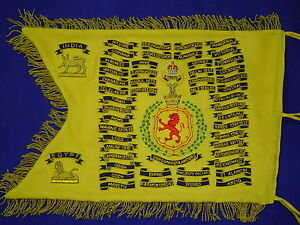 Scroll work   Battle Honors   Custom Bagpipe Banner   Hand Embroidered Geoffrey
