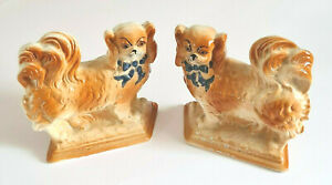 Staffordshire-Antique-Pekingese-Dog-Figures-Sold as A Pair-Circa Early 1900's