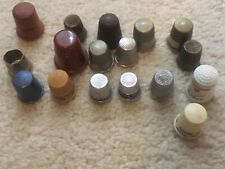 Lot 17 vtg thimbles, advertising and other, metal plastic celluloid glass wood