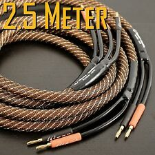 TENOR-AUDIO Golden Plated Audiophile Hi-end Banana Speaker Cable Pair 2.5M 8ft U