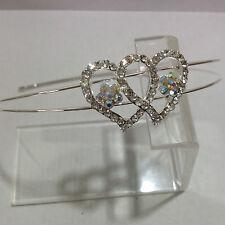 In lega d'argento Dividi Cerchietto con un diamante e AB CRISTALLO Doppio Cuore & Flowers