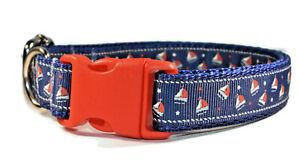 Nautical Sailboats Navy Red Adjustable handmade dog puppy collar boy small med