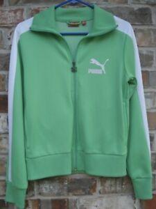 Puma Green White Stripes Logo Athletic Track Casual Sports Retro Jacket Junior M