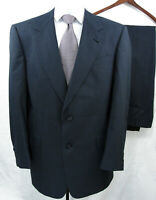 Hart Schaffner Marx Wool Suit Navy Blue Glen Plaid Mens 42L Pant 36X32 EUC 41L
