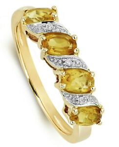 Citrine Eternity Ring Yellow Gold Real Diamond Anniversary Certificate Size J-Q