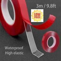 Red Transparent Silicone Double Sided Tape Sticker For Car High Strength✅No Trac