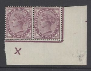 Pair of GB QV 1d Lilac SG172 Penny Control Inverted X Mint Hinged 1881 Stamps