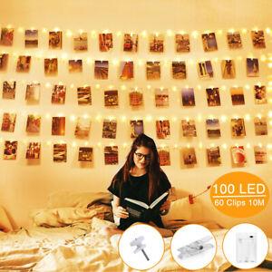 100 LED Photo Clip String Lights Room Wall Fairy Decor for Card Postcard Wedding