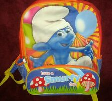 The Smurfs Backpack - Smurfy Day Clumsy Smurf School Book Bag New (H2)