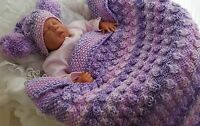 Baby Knitting Pattern #66 TO KNIT Chunky Baby Blanket & Hat - Girls or Boys